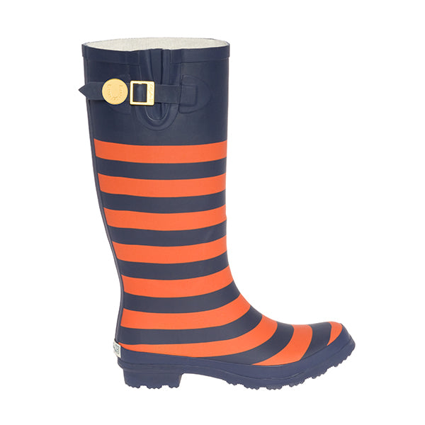 Dark Blue & Orange Striped Rainboots - Lillybee Style