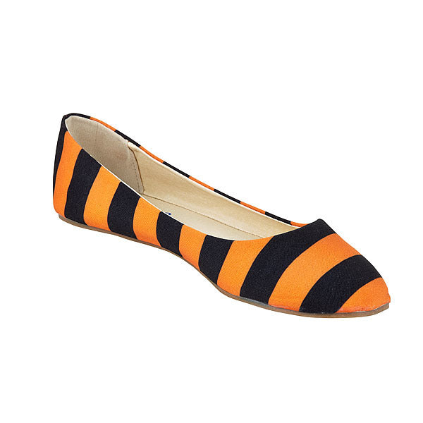 Bright Orange & Black Flats - Lillybee Style