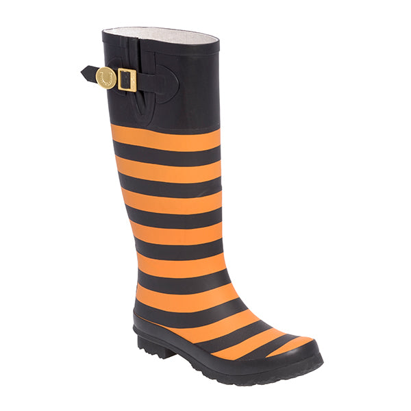 Bright Orange Black Rainboots