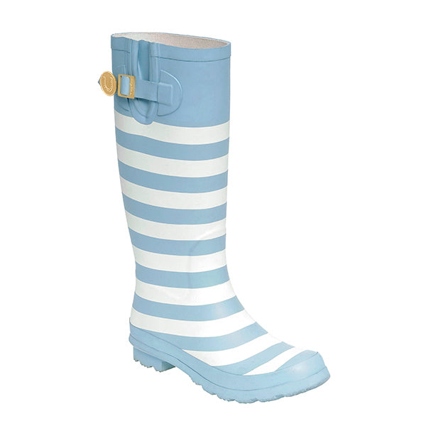 Light Blue White & Striped Rainboots