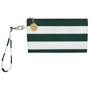 Dark Green and White Wristlet - Lillybee Style