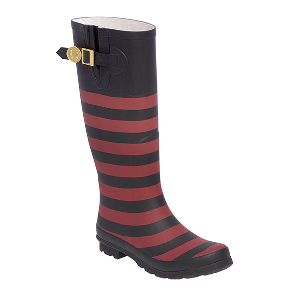 Garnet Black & Striped Rainboots