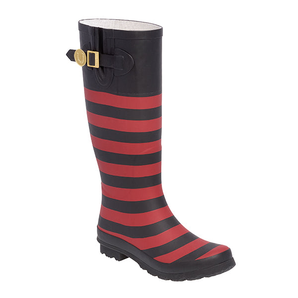 Red Black & Striped Rainboots