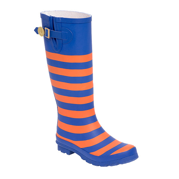 Royal Blue Orange & Striped Rainboots - Lillybee Style