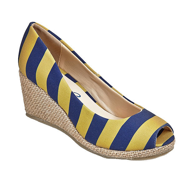 Dark Blue & Vegas Gold Wedges - Lillybee Style