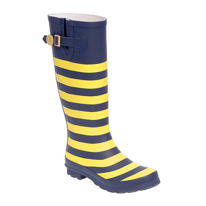 Dark Blue & Gold Striped Rainboots - Lillybee Style