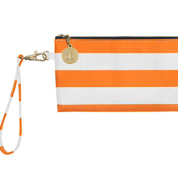 Bright Orange & White Wristlet