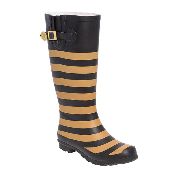 Black Vegas Gold & Striped Rainboots - Lillybee Style