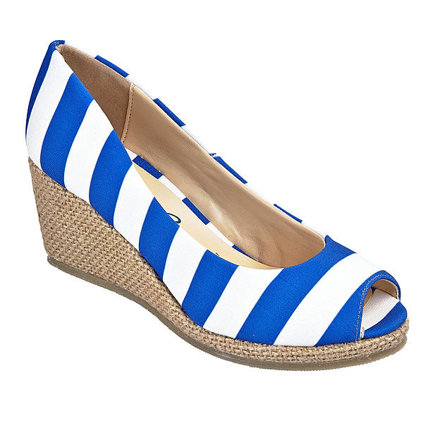 Royal Blue & White Wedges - Lillybee Style
