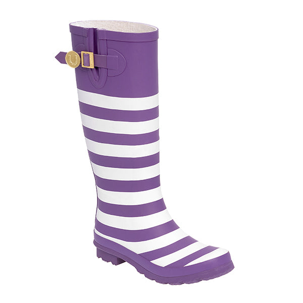 Purple White & Striped Rainboots