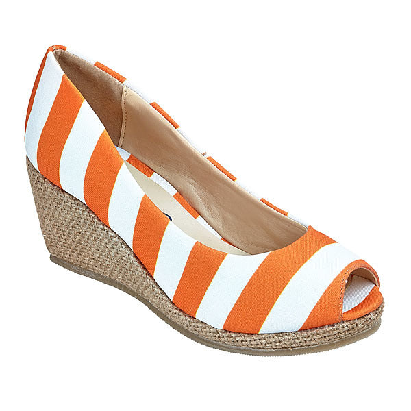 Bright Orange & White Wedges - Lillybee Style