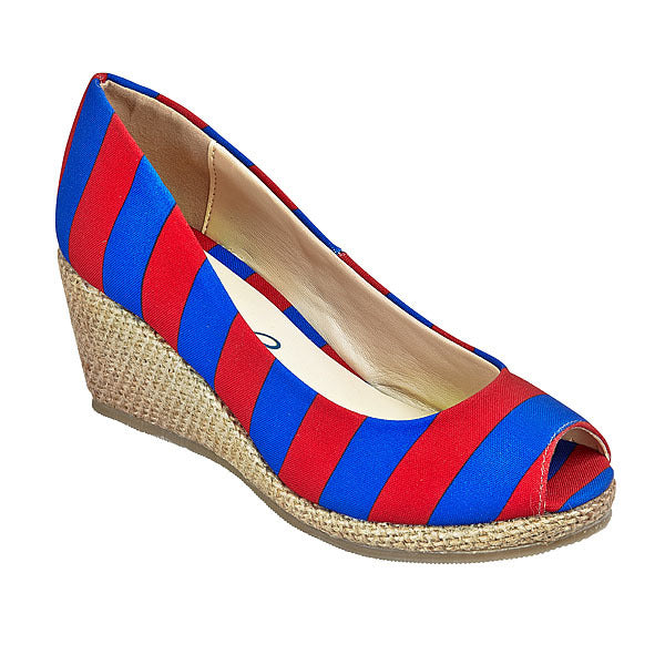 Red & Royal Blue Wedges - Lillybee Style