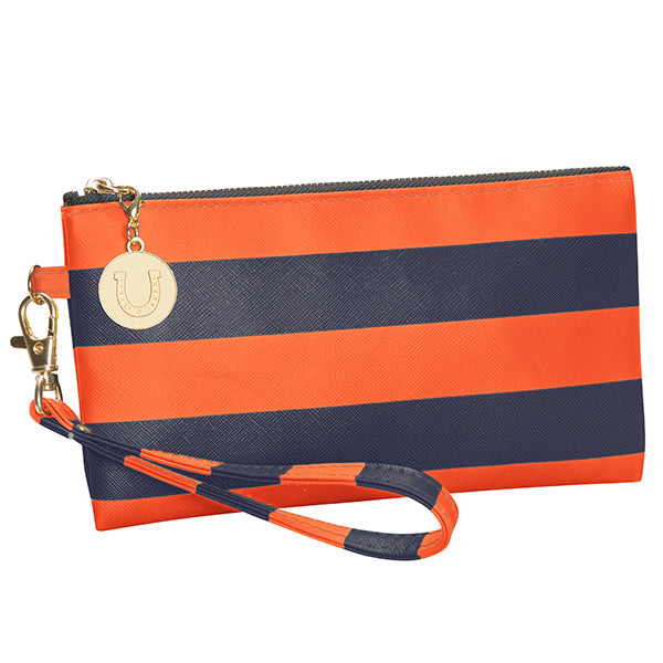 Dark Blue & Orange Wristlet - Lillybee Style