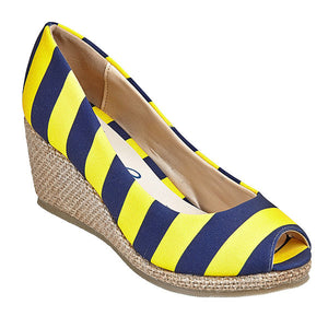 Dark Blue & Maize Wedges - Lillybee Style