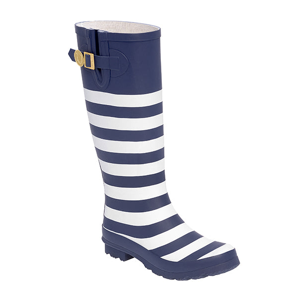 Dark Blue White & Striped Rainboots