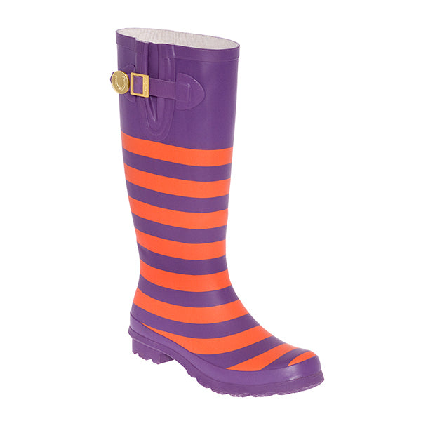 Orange & Purple Striped Rainboots