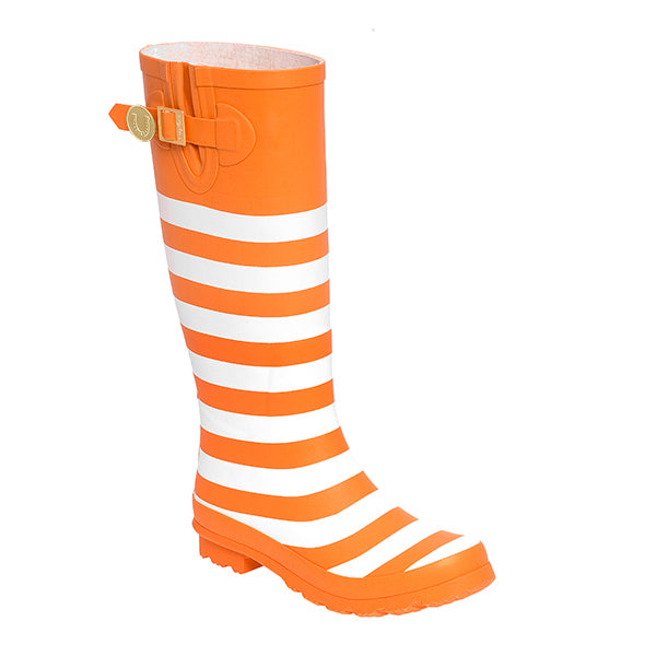 Bright Orange White & Striped Rainboots