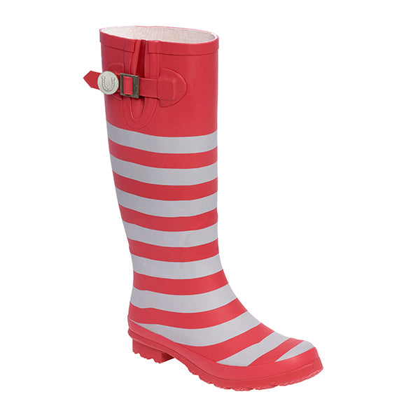 Scarlet And Gray & Striped Rainboots