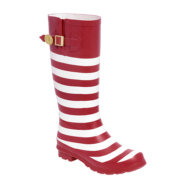 Crimson White & Striped Rainboots