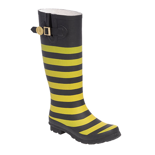 Black Gold & Striped Rainboots
