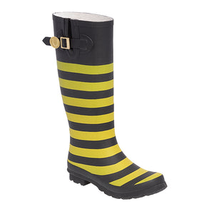 Black Gold & Striped Rainboots - Lillybee Style