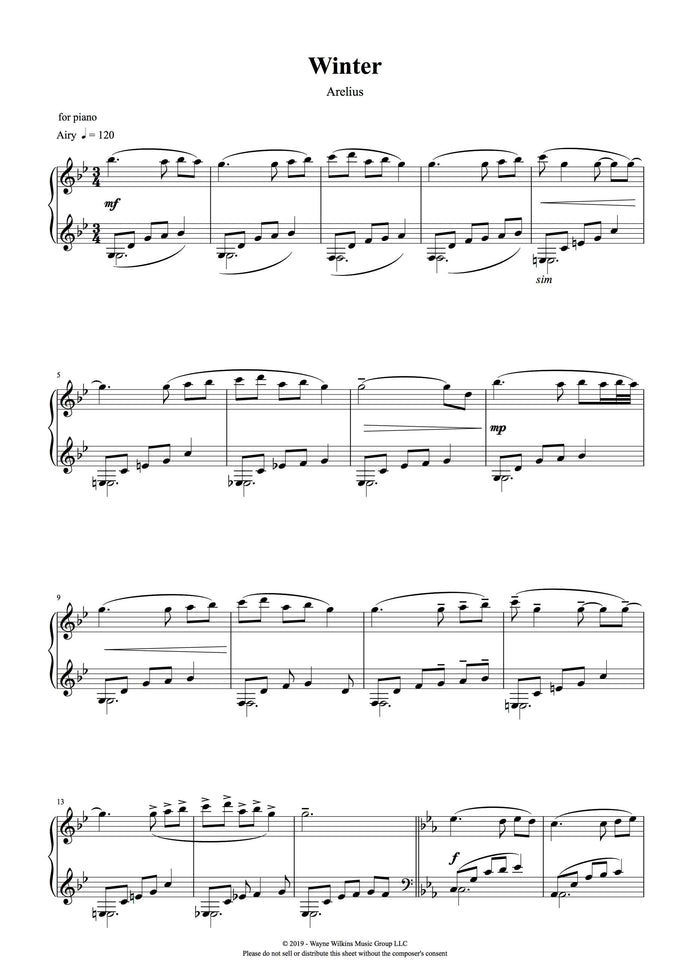 Winter - Arelius Piano Solo Sheet Music