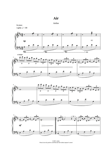 Air - Piano Solo Sheet Music by Arelius