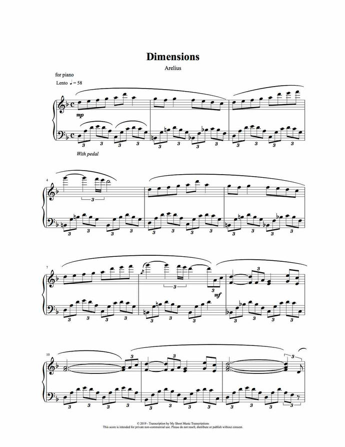 Dimensions - Piano Solo Sheet Music by Arelius