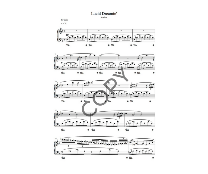 Lucid Dreamin' - Piano Solo Sheet Music by Arelius
