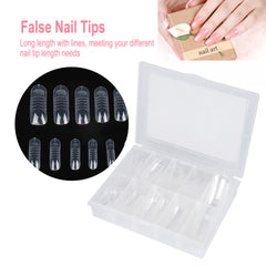 140kpl Dual System Shape Poly Gel Extension False Nail Vinkkejä UV Gel DIY 12 Koot Lines Fake Nails laajennus Transparent Kits