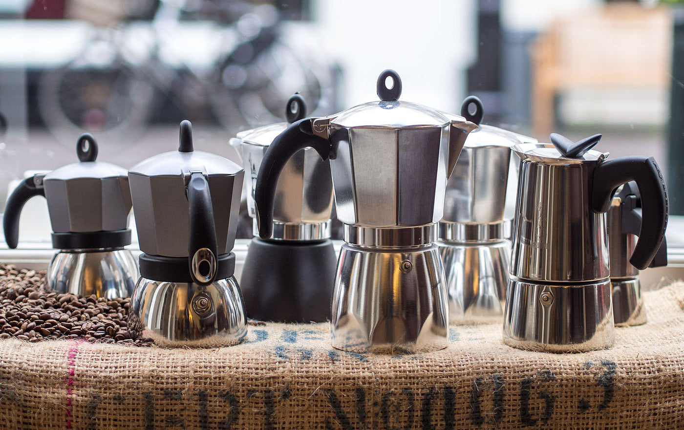 Moka Pots on display at Propeller Specialty Coffee Roasters, Toronto, Ontario, Canada