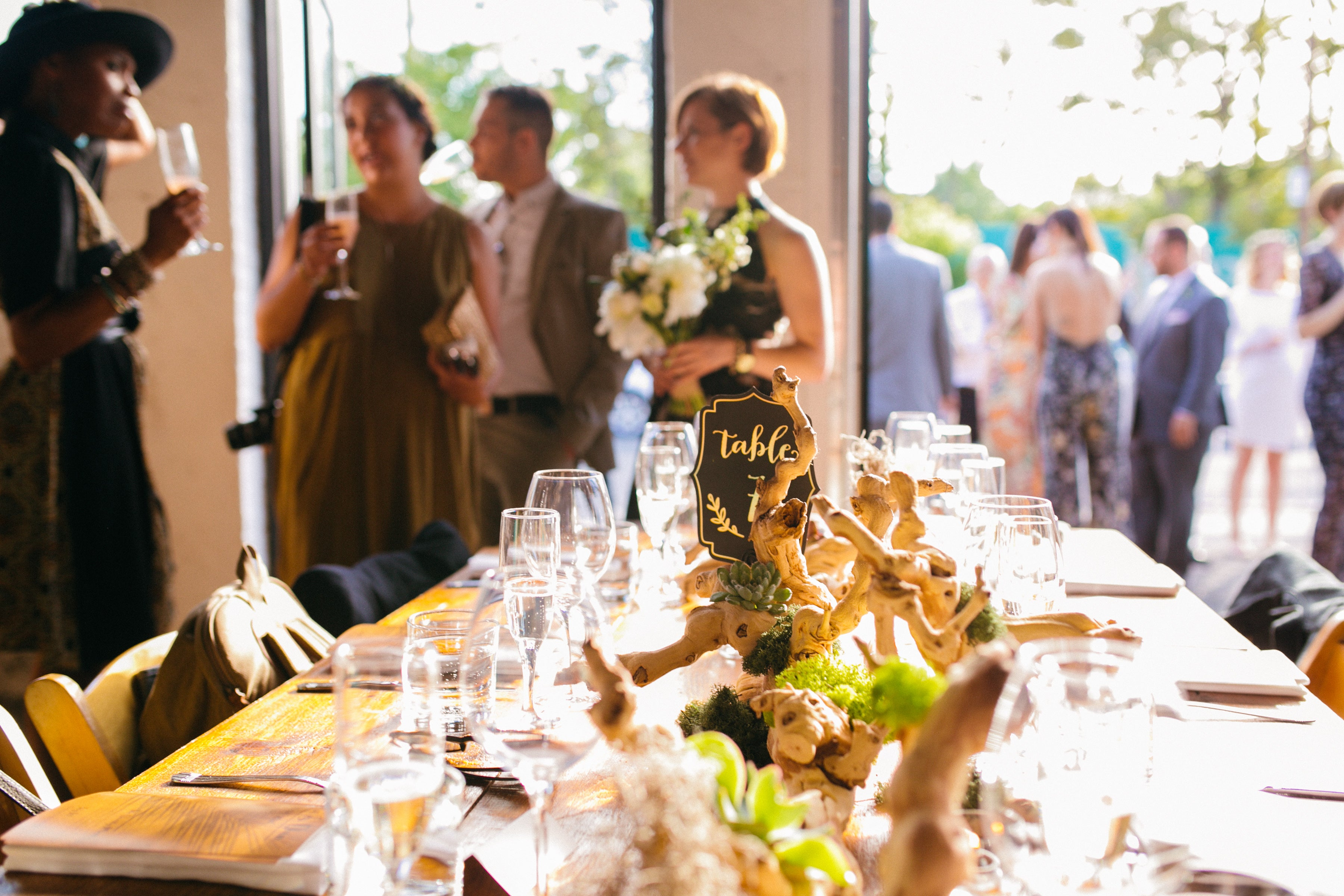 wedding venue with harvest tables