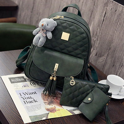 3 Pcs Quilted Backpack