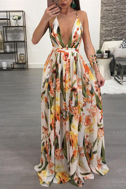 Bohemian Sexy Deep V Collar Backless Maxi Beach Vacation Dress