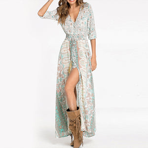 V-Neck  Elastic Waist  Printed  Polyester Maxi Dress