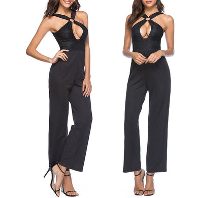 Black Sexy Hollow Straps Jumpsuit