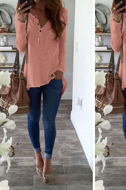 V Neck Button Casual Loose T-Shirts