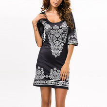 Load image into Gallery viewer, Round Neck Printed Three Quarter Sleeve Bodycon Dresses