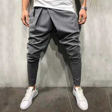 Mid-rise hip hop casual solid color feet nine pants