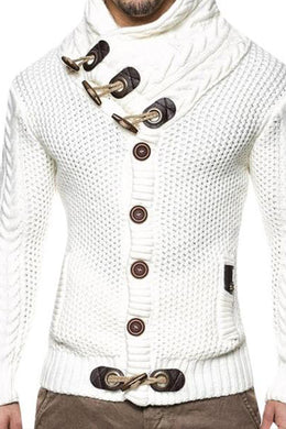 Solid Color Slim Front Button-Knit  Sweater Coat