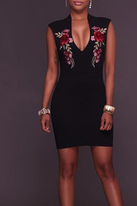 Plunge Embroidery Floral Patch Sleeveless Bodycon Dress