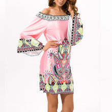 Load image into Gallery viewer, Pink Exotic Off Shoulder Printed Casual Dress