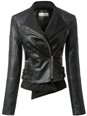 Excellent Leather Plain Jacket With Zipper