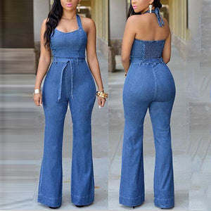 Slim Casual Fashion Denim Jumpsuit With Belt