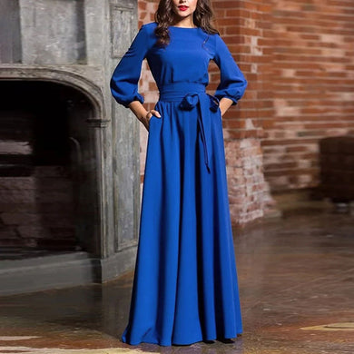 Bohemian Bishop Sleeve Pure Colour Dress