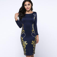 Load image into Gallery viewer, Vintage Printed Round Neck Bodycon Dress