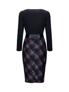 V-Neck  Belt  Plaid Printed Bodycon Dress