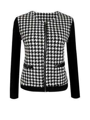 Round Neck  Zips Houndstooth Jacket
