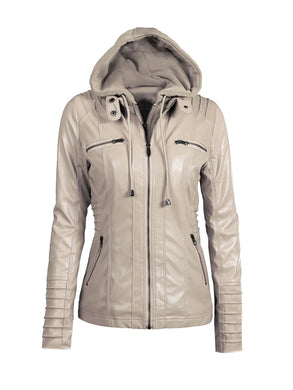 Hooded  Drawstring Zips  Plain Jacket
