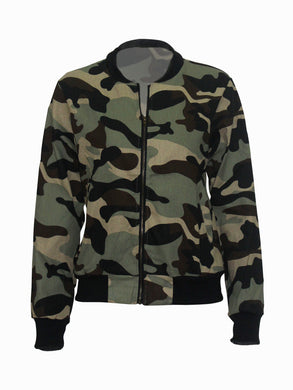 Band Collar  Slit Pocket  Camouflage Jackets